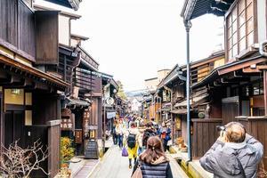 takayama, Japan, 12 jan 2020 - landskapsbilden av Takayama-staden. den heter som liten kyoto i Japan och upprättades sedan edo-eran. foto
