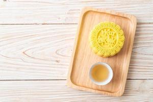 kinesisk månekaka vaniljsås smak foto