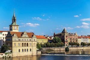 Prag panorama, utsikt från Charles Bridge foto