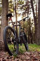 mountainbike i skogen foto