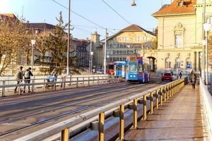 elektrisk spårvagn i Bern, Schweiz foto