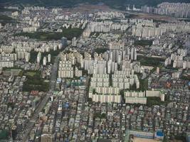 den vackra utsikten till Seoul staden från luften. Sydkorea foto