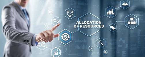resursfördelning. koncept för marknadsföringsplaneringsstrategi. affärsteknik foto