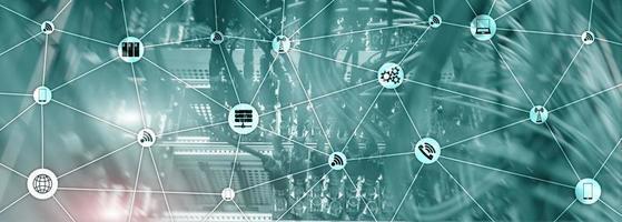 webbplats banner blandat media. iot - Internet of Things-koncept. ict - informations- och telekommunikationsteknik foto