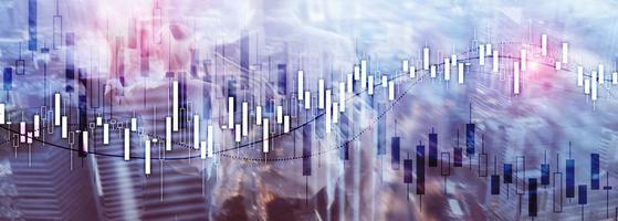 webbplats ekonomisk banner. finansiella aktiemarknadsdiagram. foto