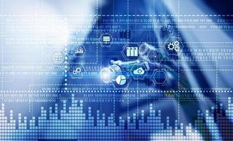 binär kod. ICT - informations- och telekommunikationsteknik och IOT - Internet of Things-koncept foto