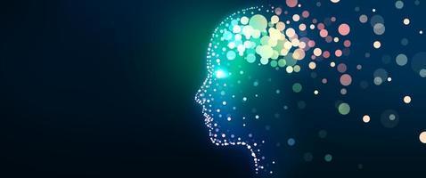 mänskligt huvud med ett lysande hjärnnätverk foto