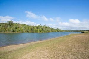 vacker utsikt över skogen med sjön mot blå himmel foto