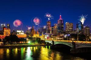 nyår fyrverkerier i melbourne, australien foto