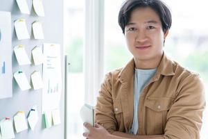 porträtt av asiatisk affärsman med förtroende foto