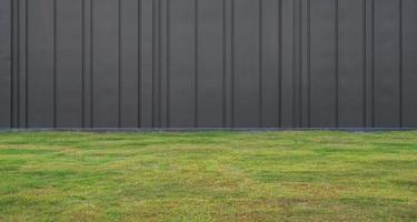 grönt gräs och svart väggbakgrund foto