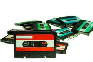 stack vintage kompakt kassettband foto