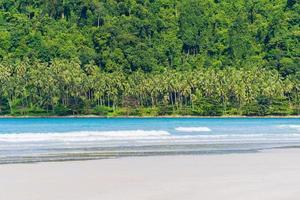 vacker tropisk strand och hav med kokospalmer foto