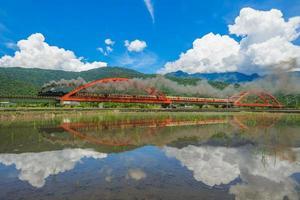 ånglok på fältet i Yuli, Hualien, Taiwan foto