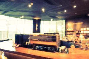 abstrakt oskärpa och defokuserad restaurang och kaffeinredning foto