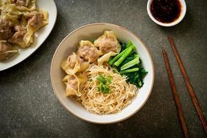 torkade äggnudlar med fläsk wonton eller fläskdumplings utan soppa asiatisk matstil foto