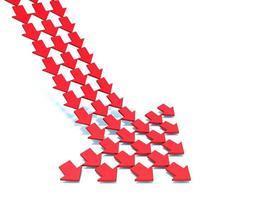 Röd och vit pilbakgrund för tolkning 3d foto