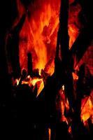 närbild av brinnande stockar i spisen på svart bakgrund foto