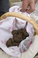 traditionell svart tryffelmarknad av lalbenque i perigord, Frankrike foto