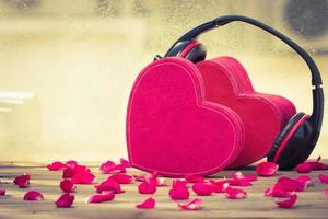 parhjärta med hörlurar foto