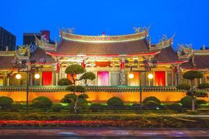 fasadvy av hsing Tian Kong-templet i Taipei, Taiwan foto