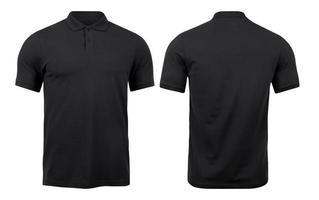 svarta polotröjor mockup fram och bak används som formgivningsmall, isolerad på vit bakgrund med urklippsbana. foto