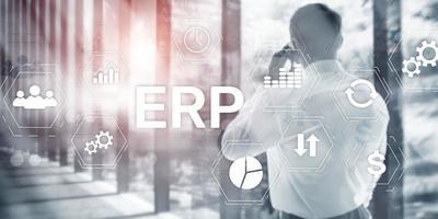 företagsresursplanering erp mixed media bakgrund. koncept för företagsaffärs internetteknologi. foto