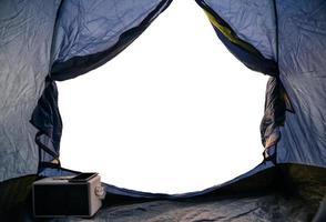 vy från insidan av tältet på vit bakgrund foto