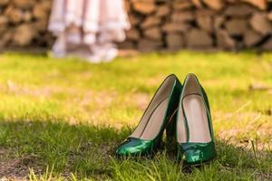 brud bröllop skor foto