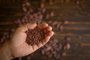 kakaobönor i hand på gammal naturlig träbakgrund foto