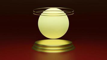 3D framför abstrakta plattformar med det gyllene realistiska podiet foto