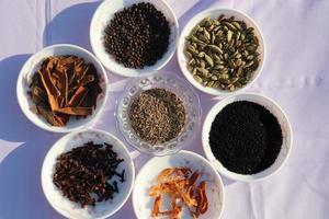 samling av olika hälsosamma kryddor foto