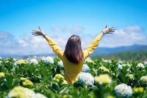 glad asiatisk kvinna håller handen i ett fält av hortensiablommor foto
