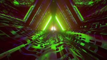 sci fi geometrisk tunnel med neon design 4k uhd 3d illustration foto