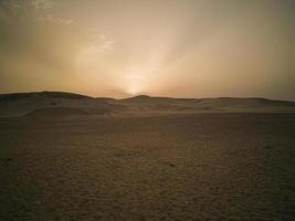 gul solnedgång i öknen foto