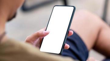 tom vit skärm mobiltelefon foto