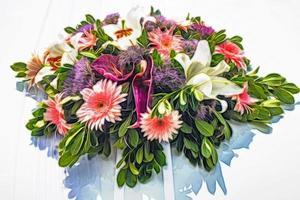 närbild bukett blommor foto