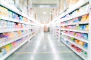 abstrakt suddighet och defokuserad stormarknad för bakgrund foto