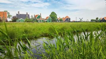 holländskt landskap med hus och vegetation foto