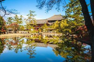 huvudporten och den stora buddhahallen i Todaiji i Nara, kansai, Japan foto