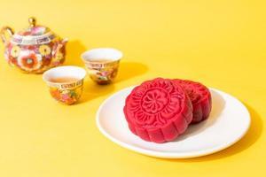 månekaka röd sammetsmak för mitten av höstfestivalen foto