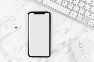 toppvy smartphone mall arbetsyta. högkvalitativt vackert fotokoncept foto