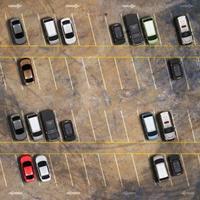Flygfoto ovanifrån av parkeringsplats foto