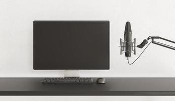 PC-skärm med mikrofon foto