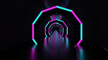 Tolkning för mörkt neontunnel 3d lysande blått rosa rosa abstrakt ledde ljus foto