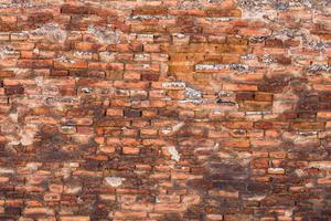 gamla tegelväggar. abstrakt konsistens av röd tegelvägg foto