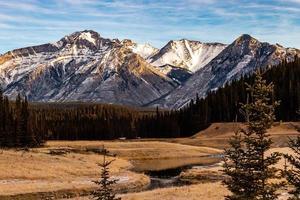 paliser sträcker sig från minnewanka-slingan. Banff National Park, Alberta, Kanada foto