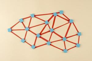nätverkskonceptet med hög vinkel med tråd foto