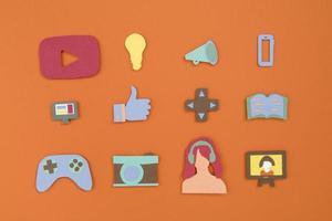 hög vinkel sociala medier koncept stilleben foto