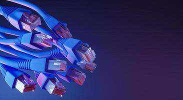 Ethernet-kablar med neonljus foto